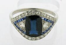 Stunning Art Deco 2.80 Carat Sapphire Diamonds Platinum Ring