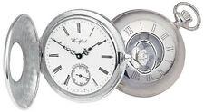 Half Hunter Pocket Watch Sterling Silver Swiss 17 Jewel Mechanical Woodford 1068