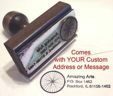 Bicycle Wheel Rubber Stamp With Your Custom Address