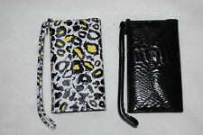 TriFold CELL PHONE WALLET CASE iphone 5 and 5s LOT Black LEOPARD SPOT Wristlet