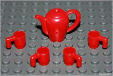 Lego Harry Potter Red Teapot & 4 Mugs Cups Food Kitchen Table Set Minifigure NEW
