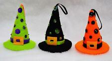 "SET OF 3 HAND~CRAFTED 4"" FELT HALLOWEEN WITCH HAT TREE ORNAMENTS W/SEQUINS~BEADS"
