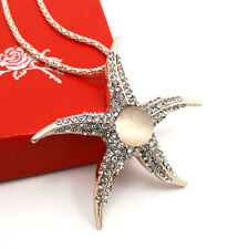 Fashion gold-plated Starfish pendant Crystal Sweater chain Long Necklace NN215
