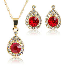 Fashion Women Red Zircon Rhinestone Necklace Earring Gold Plated Jewelry Sets