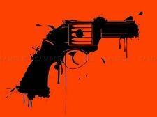 PAINT SPLAT BLACK HANDGUN PISTOL PHOTO ART PRINT POSTER PICTURE BMP169A