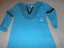 NEW✿ Blue Island Women's Embroidered Tunic Top Swimsuit Coverup Size Small Aqua