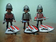 Vintage Playmobil Knights Lot of 3 Black Lion Shields Helmets Weapons Warriors