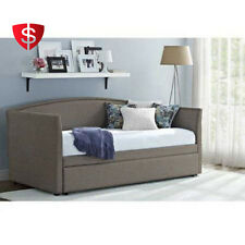 Daybed With Trundle Upholstered Sofa Bed Guest Room Metal Frame Kids Furniture