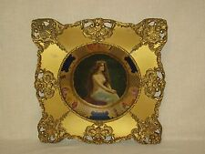 """RARE VINTAGE 1908 COCA-COLA TRAY """"TOPLESS"""" VIENNA ART PLATE in GOLD GILTED FRAME"""