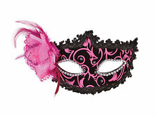 FEMALE PINK / BLACK EYE MASK WITH SIDE FEATHER FANCY DRESS ACCESSORY