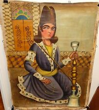 WOMAN OF INDIA OLD 19TH CENTURY ORIGINAL OIL ON CANVAS PAINTING UNSIGNED #2