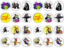 24 Halloween witches cartoon theme cupcake toppers birthday party edible paper