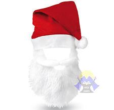 CAPPELLO di BABBO NATALE con BARBA Costume BERRETTO da SANTA CLAUS Cap CHRISTMAS