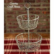 New Primitive French Country Shabby Two Tiered Wire Basket Holder Double Caddy