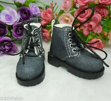 "MSD DOC 1/4 Bjd 17"" Sasha Obitsu 60cm Doll Shoes High Hill Denim Boots Dark Blue"