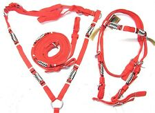 D.A. Brand Pony Size Red Nylon Bridle Set w/Breast Collar and Rawhide Accents