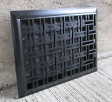 "Antique Cast Iron Wall Grate Vent - Refinished - Black- [16"" x 12""] (#3)"