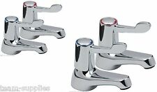 LEVER BASIN SINK AND BATH PILLAR TAPS EASY 1/4 TURN CHROME PAIR HOT COLD SET TVK