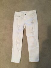 American Eagle Jegging Crop Skinny Distressed White Jeans Size 2