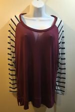 RUE+ 21  WOMEN'S Burgundy  STRIPED TOP/blouse Long Sleeves  Size 3XL New