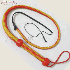 Genuine Real Leather 4 Feet Long 12 Plait weaving Bull Whip Red & Yellow