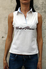 Conte of Florence Lady Polo t-Shirt Top Stretch Auth White Sleeveless S Tank top