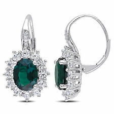 Sterling Silver 5.4 Ct TW Diamond & Emerald White Sapphire Leverback Earrings