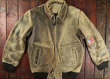 VTG USN TYPE G-2 LAMBSKIN LEATHER FLIGHT BOMBER JACKET AVIREX SCHOTT STYLE 42