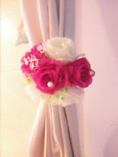 2 pcs Rose Flower Cluster Curtain Tieback Clips Buckle Backdrop clips with Pears
