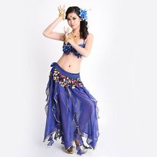 Belly Dance Bra Top Costume 3 pcs set with Hip Belt skirt Sequins Dance School