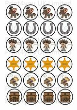 24 Edible cake toppers decorations cartoon cowboy western cow boy theme