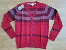 New Mens Jumper Cardigan Button Front Sweater Red Checked size S