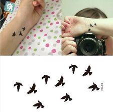 Body art : Tatouage temporaire modèle 9 oiseaux noirs