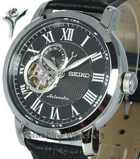 New SEIKO CLASSIC AUTOMATIC SKELETON BLACK FACE LEATHER BUCKLE STRAP SSA233K1