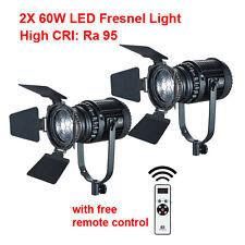 2X 60W LED Fresnel Light Kit CN-60F High CRI Ra 95 Remote Control Free Shipping