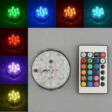 10 LED Multi Color Colorful Submersible Waterproof Party Vase Base Light Remote