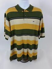 Men's Ecko Unltd Green Yellow Horizontal Stripe Sz L Short Sleeve Polo