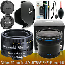Nikon 50mm f/1.8D AF Nikkor Lens Accessory kit for DSLR Cameras NEW ORIGINAL BOX