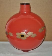 Awe Inspiring SIGNED Glass VASE Japanesque MODERN Essence AMAZING Golden FLOWERS