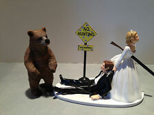 Hunt Hunting Humor Funny Bride Groom Wedding Cake Topper Brown Bear Gun Stand