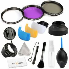 58mm UV CPL FLD Filter Kit Lens Hood Cap Brush For Canon Rebel T3i T5i 18-55mm