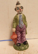 VINTAGE BISQUE CERAMIC PORCELAIN CHINA CLOWN FIGURINE WITH UMBRELLA