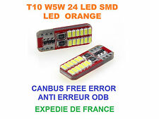 2 AMPOULES LED CLIGNOTANT ORANGE VW POLO V W5W T10 24 LED CANBUS