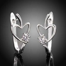 925 silver Elegant heart U stud earrings