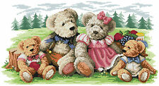 14 count aida needlepoint cross stitch teddy bears kit with colorful chart KP157
