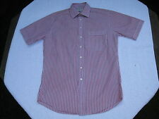 Simpson Piccadilly red/white striped men's short-sleeved cotton shirt, size 14.5