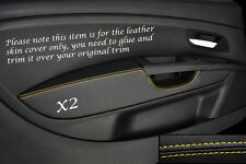 YELLOW STITCH 2X FRONT DOOR CARD TRIM ARMREST COVER FITS FIAT GRANDE PUNTO 05-11