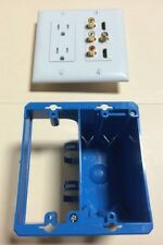 P&S Power Outlet 3x RCA A/V 2x HDMI 1x F COAX Two Gang Wall Plate White & OW Box