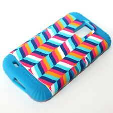 Samsung Galaxy S2 T989 T-Mobile - HARD&SOFT RUBBER HYBRID CASE PINK BLUE CHEVRON