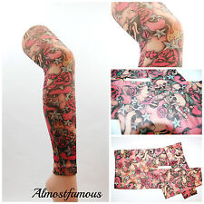 Retro Teschio Rosa Tight FOOTLESS EMO PUNK TATTOO opere d'arte UK